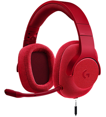 Logitech G433 Gaming Headset, в червено